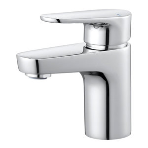 Image of GoodHome Cavally 1 lever Chrome-plated Mini Modern Basin Mono mixer Tap