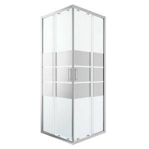 GoodHome Beloya Square Mirror Shower Enclosure & tray with Corner entry double sliding door (W)760mm (D)760mm