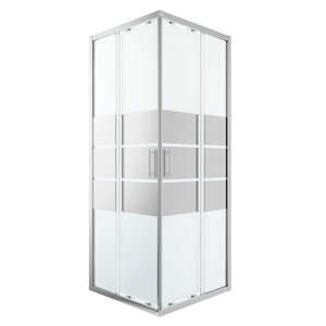 GoodHome Beloya Square Mirror Shower Enclosure & tray with Corner entry double sliding door (W)900mm (D)900mm