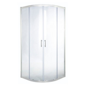 GoodHome Onega Quadrant Clear Shower Enclosure & tray with Corner entry double sliding door (W)800mm (D)800mm