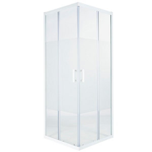 GoodHome Onega White Square Frosted effect Shower Enclosure & tray with Corner entry double sliding door (W)800mm (D)800