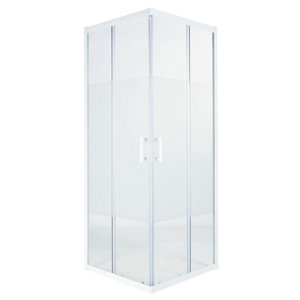 GoodHome Onega White Square Frosted effect Shower Enclosure & tray with Corner entry double sliding door (W)900mm (D)900