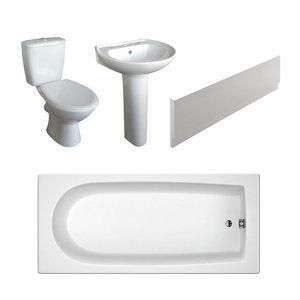 Plumbsure Bodmin Open back close-coupled Toilet & full pedestal basin