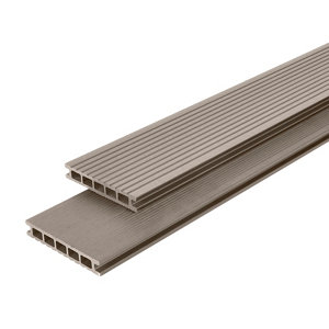 GoodHome Neva Taupe Composite Deck board (L)2.2m (W)145mm (T)21mm  Pack of 6