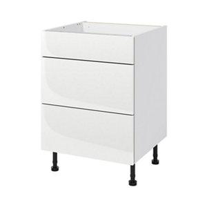 GoodHome Stevia Gloss white slab Cabinet  drawer & door set  (L)60cm