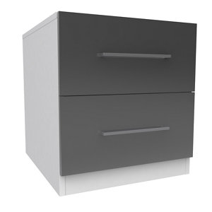 Image of Darwin Gloss white & anthracite 2 Drawer Bedside chest (H)546mm (W)500mm (D)566mm