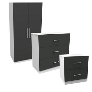 Image of Darwin Gloss anthracite & white 3 piece Bedroom furniture set