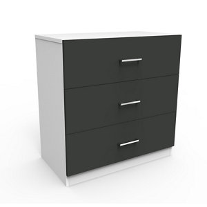 Darwin Gloss anthracite & white 3 Drawer Chest (H)787mm (W)800mm (D)420mm