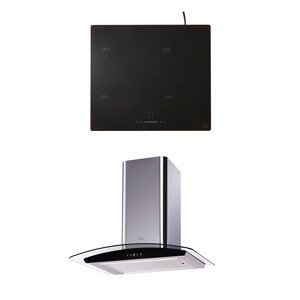 Cooke & Lewis CLIND60ERF / CL60CGRF Black Glass & stainless steel Integrated Hob & cooker hood pack