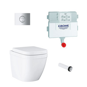 Grohe Sail & Euro Contemporary Back to wall Rimless Standard Toilet & cistern with Soft close seat