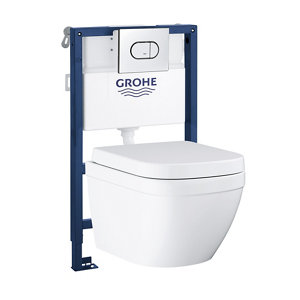 Grohe Euro Contemporary Wall hung Rimless Comfort height Toilet & cistern with Soft close seat