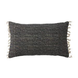 Image of Denia Tasselled Black & off white Cushion