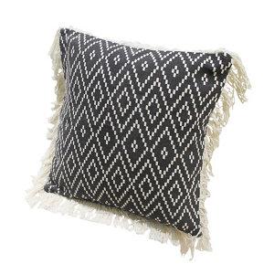 Image of Denia Diamond rug Black & off white Cushion
