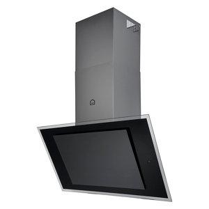 GoodHome Bamia GHAGRE90 Black Glass Angled Cooker hood  (W)90cm