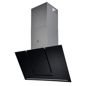 GoodHome Bamia GHAGML90 Black Glass Angled Slide lift cooker hood  (W)90cm