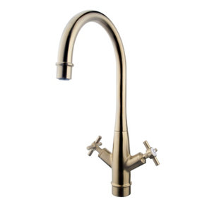 Image of GoodHome Filbert Brass effect Kitchen Twin lever Mixer tap