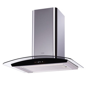 Cooke & Lewis LinkTech CL60CGRF Silver Glass Curved Cooker hood  (W)60cm