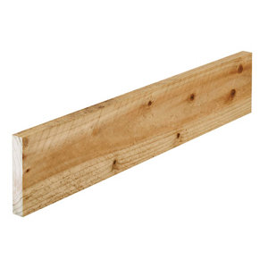 Treated Rough sawn Whitewood spruce Timber (L)1.8m (W)100mm (T)22mm