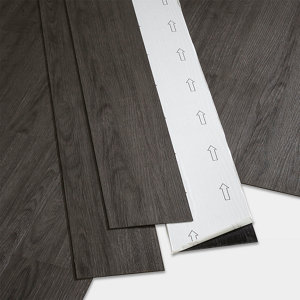 Image of GoodHome Poprock Dark grey Wood planks Wood effect Self adhesive Vinyl plank Pack of 7