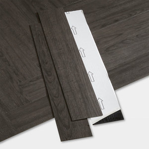 Image of GoodHome Poprock Black Wood planks Wood effect Self adhesive Vinyl plank Pack of 20