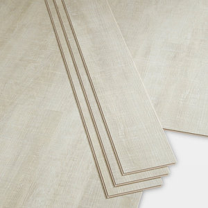 Image of GoodHome Bachata Silver Wood effect Luxury vinyl click flooring 2.56m² Pack