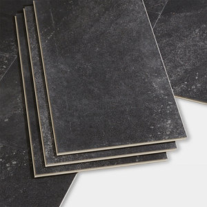 Image of GoodHome Jazy Charcoal Tile effect Luxury vinyl click flooring 2.23m² Pack