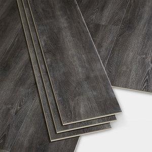 Image of GoodHome Jazy Dark grey Wood effect Luxury vinyl click flooring 2.24m² Pack