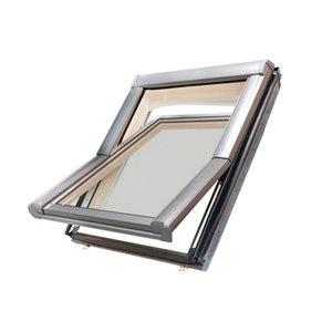 Site Standard Anthracite Aluminium alloy Centre pivot Roof window  (H)980mm (W)780mm
