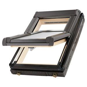 Site Standard Anthracite Aluminium alloy Centre pivot Roof window  (H)780mm (W)540mm