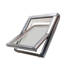 Image of Site Premium Anthracite Aluminium alloy Centre pivot Roof window (H)780mm (W)540mm