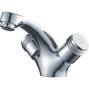 Image of GoodHome Annagh 2 lever Chrome-plated Contemporary Basin Mono mixer Tap