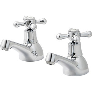 Image of GoodHome Etel Chrome-plated Bath Pillar Tap Pack of 2