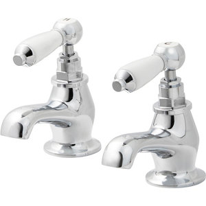 Image of GoodHome Brean Chrome-plated Bath Pillar Tap Pack of 2