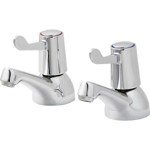 Image of GoodHome Netley Chrome-plated Bath Pillar Tap Pack of 2