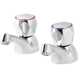 Image of GoodHome Calp Chrome-plated Bath Pillar Tap Pack of 2
