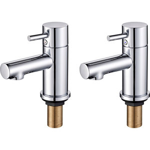 Image of GoodHome Lazu Chrome-plated Bath Pillar Tap Pack of 2