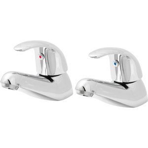 Image of GoodHome Blyth Chrome-plated Bath Pillar Tap Pack of 2