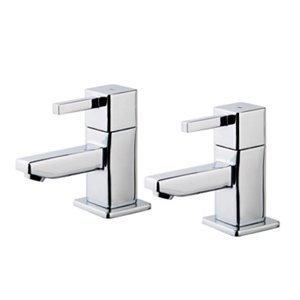 Image of GoodHome Cooleen Chrome-plated Bath Pillar Tap Pack of 2