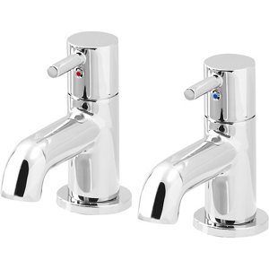 Image of GoodHome Hoffell Chrome-plated Bath Pillar Tap Pack of 2