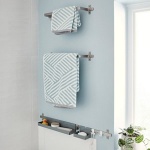 Image of GoodHome Amantea Wall-mounted Brushed Towel rail (W)500mm