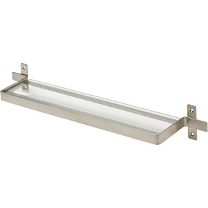 Image of GoodHome Amantea Silver effect Stainless steel & tempered glass Shelf (L)500mm (D)100mm