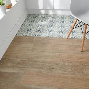 Image of Antic rustic Natural Matt Wood effect Porcelain Floor tile Pack of 4 (L)1200mm (W)200mm