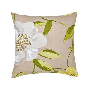 Louga Floral Green  grey &white Cushion (L)45cm x (W)45cm