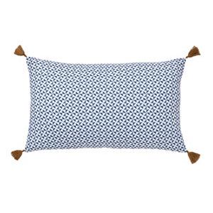 Image of Campton Geometric Blue & white Cushion