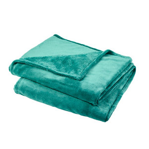 Image of Lulu Green Plain Fleece Throw