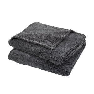 Image of Takeo Grey Plain Fleece Throw