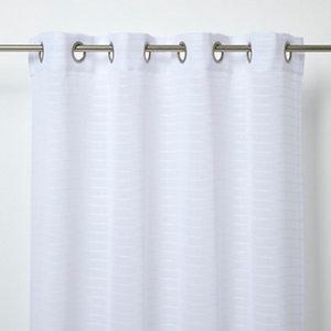 Image of Batna White Horizontal stripe Unlined Eyelet Voile curtain (W)140cm (L)260cm Single