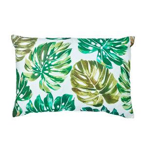 Image of Agathe Palm leaf Green & white Cushion
