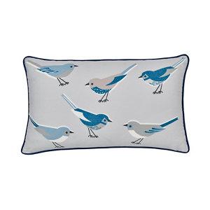 Image of Aventurine Birds Blue & grey Cushion
