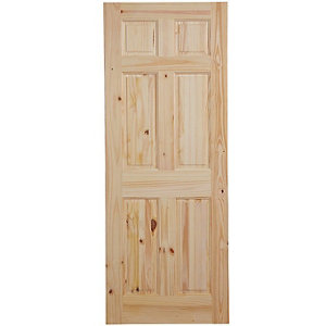 Image of 6 panel Knotty pine LH & RH Internal Door (H)1981mm (W)762mm